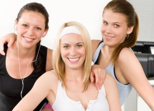 Three women in gym