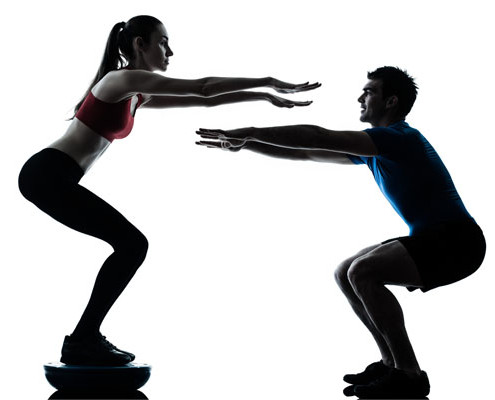 Man and Woman squatting