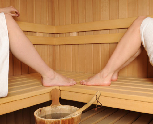 Two people in Sauna